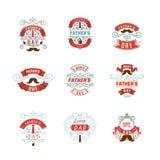 Design för emblem för dag för fader` s Klistermärke stämpel, handgjord logo - Med bruket av typografibeståndsdelar kalligrafi och royaltyfri illustrationer