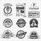 Design för etiketter för vektor för show för Standup komedi royaltyfri illustrationer