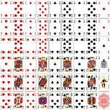 Design för färg för full uppsättning fyra för pokerkort klassisk Fotografering för Bildbyråer