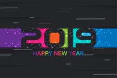 2019 design för färgrik bakgrund för lyckligt nytt år idérika för ditt hälsningskort, reklamblad, affischer, broschyr, baner, kal stock illustrationer