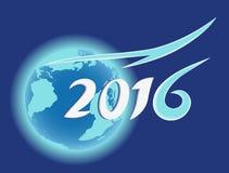 Design för för planetjord- och år 2016 text Arkivbilder