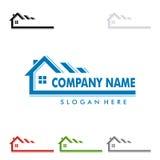 Design för fastighetvektorlogo, hem, husillustration Royaltyfria Bilder