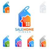 Design för fastighetvektorlogo, hem- logo för försäljning Royaltyfri Bild