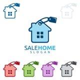 Design för fastighetvektorlogo, hem- logo för försäljning Fotografering för Bildbyråer