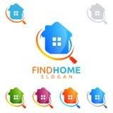 Design för fastighetvektorlogo, hem- logo för fynd Arkivbild