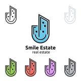 Design för fastighetvektorlogo, hem- logo för leende Fotografering för Bildbyråer