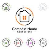 Design för fastighetvektorlogo, hem med kompassillustrationen Arkivfoto