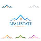 Design för fastighetvektorlogo med hem- form Royaltyfri Fotografi