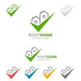 Design för fastighetvektorlogo med hemmet och kontrollen Royaltyfri Fotografi
