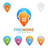 Design för fastighetvektorlogo med hemmet och stiftet Royaltyfri Foto