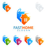 Design för fastighetvektorlogo, snabb försäljningshemlogo Arkivbilder