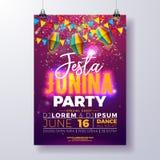 Design för Festa Junina partireklamblad med flaggor, den pappers- lyktan och typografidesign på skinande lilabakgrund vektor royaltyfri illustrationer
