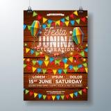 Design för Festa Junina partireklamblad med flaggor, den pappers- lyktan och typografidesign på tappningträbakgrund vektor royaltyfri illustrationer