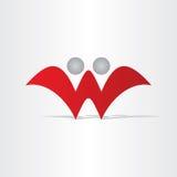 Design för folk för bokstavsw-abstrakt begrepp Arkivbild