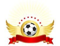 Design för fotboll-/fotbollklubbalogo Arkivfoto
