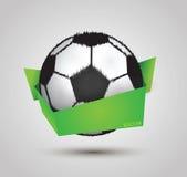 Design för fotbollboll vid origami på vit bakgrund Arkivbilder