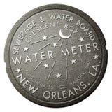 Design för fransk fjärdedel för New Orleans Iconic Watermeter affisch idérik arkivfoto