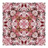 Design för fyrkantfacket, sjal, textil blom- modellvektor Royaltyfri Foto