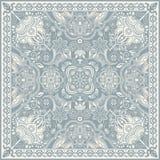 Design för fyrkantfacket, sjal, textil Paisley blom- modell Arkivbilder