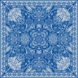 Design för fyrkantfacket, sjal, textil Paisley blom- modell stock illustrationer