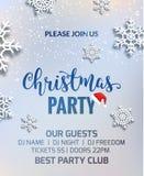 Design för garnering för inbjudan för affisch för julparti Bakgrund för Xmas-feriemall med snöflingor stock illustrationer