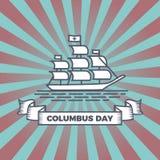 Design för hälsning för vektor för Columbus dag för amerikanskt folk i det Amerika landet Tappningtema med skeppillustrationen royaltyfri illustrationer
