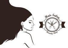 Design för hårsalong Illustration med kvinnan vektor Royaltyfri Fotografi
