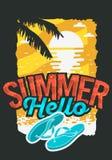 Design för Hello sommaraffisch med soluppgång ovanför de vatten- och Flip Flops Slippers Beach Shoes illustrationerna royaltyfri illustrationer