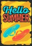 Design för Hello sommarTid affisch med Flip Flops Slippers Beach Shoes illustrationer stock illustrationer