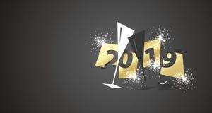 Design för hipster för negativt utrymme för nytt år 2019 modern två exponeringsglas svart bakgrund för champagne stock illustrationer