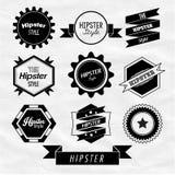 Design för Hipsteretikett- och emblemsymbolsvektor Royaltyfri Bild
