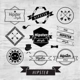 Design för Hipsteretikett- och emblemsymbolsvektor Royaltyfria Foton