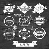 Design för Hipsteretikett- och emblemsymbolsvektor Arkivbilder