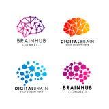 Design för hjärnanslutningslogo digital hjärnlogomall vektor illustrationer