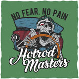 Design för Hotrod förlaget-skjorta etikett Arkivfoto