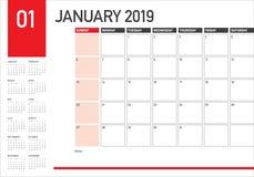Design för illustration för vektor för Januari 2019 skrivbordkalender enkel och ren, stock illustrationer