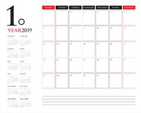 Design för illustration för vektor för Januari 2019 skrivbordkalender enkel och ren, royaltyfri illustrationer