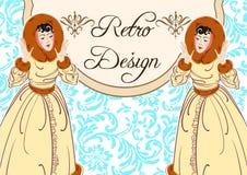 Design för inbjudan för tappningstiljul med härliga damer retro deltagare art déco modernt vit tar av planet dekorerat med förföl vektor illustrationer