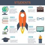 Design för Infographic utbildningsmall framförd illustrationbild för begrepp 3d Arkivfoton