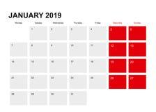 2019 design för Januari stadsplanerarekalender Veckan startar från måndag stock illustrationer