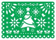 Design för julPapel Picado vektor, mexicansk modell för garneringar för Xmas pappers- grön och vit för hälsning 5x7 för kort, royaltyfri illustrationer