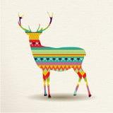 Design för julrenkonst i roliga färger vektor illustrationer