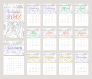 design för 2018 kalender Arkivfoton