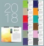 design för 2018 kalender royaltyfri illustrationer