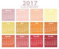 Design för kalender 2017 Royaltyfria Bilder