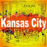 Design för Kansas City ordmoln stock illustrationer