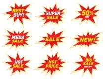 Design för klistermärke för mall för emblem för stjärna för baner för Sale etikettprislapp Royaltyfri Fotografi
