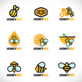 Design för konst för uppsättning för vektor för honungbilogo Arkivbilder