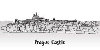 Design för kort för hälsning för Prague slott Arkivbilder