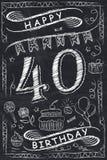 Design för kort för lycklig födelsedag för årsdag på den svart tavlan royaltyfri illustrationer